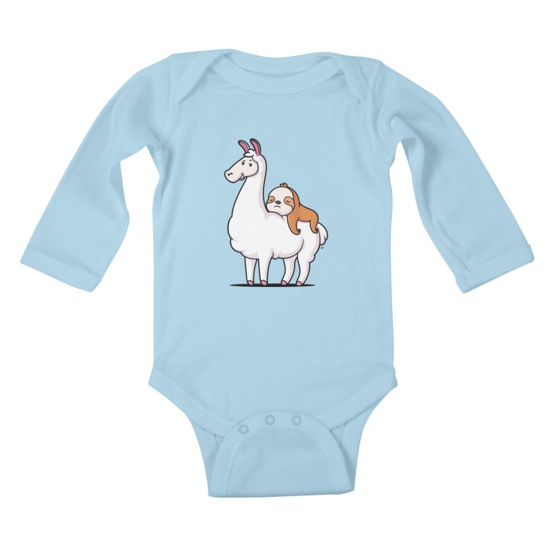 Best Friends LLama and Sloth Kids Baby Longsleeve Bodysuit by zoljo's Artist Shop