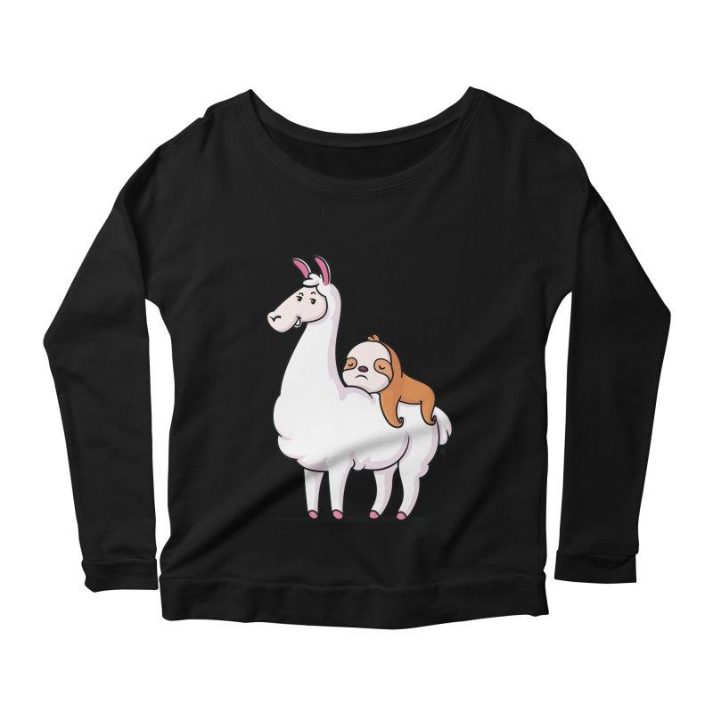 Best Friends LLama and Sloth Women's Scoop Neck Longsleeve T-Shirt by zoljo's Artist Shop