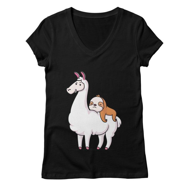 Best Friends LLama and Sloth Women's Regular V-Neck by zoljo's Artist Shop