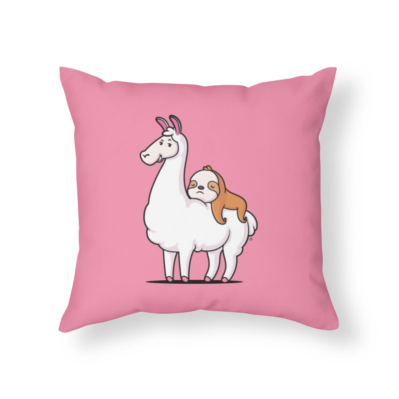 Best Friends LLama and Sloth Home Throw Pillow by zoljo's Artist Shop