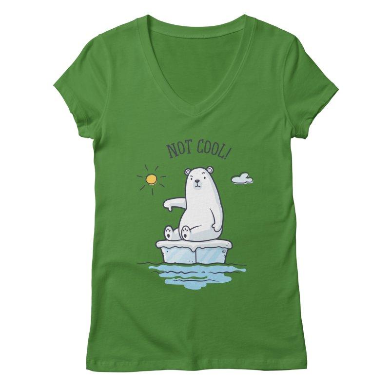 Global Warming Is Not Cool - Polar Bear Women's Regular V-Neck by zoljo's Artist Shop