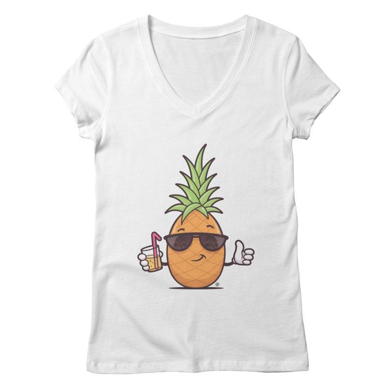 Cool Pineapple Women's Regular V-Neck by zoljo's Artist Shop