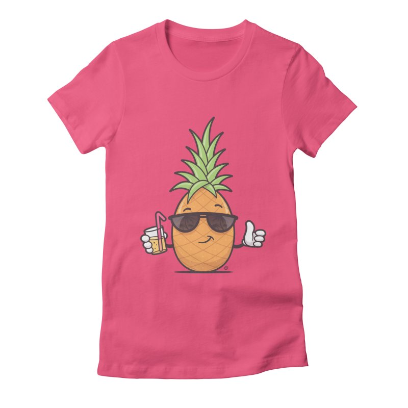 Cool Pineapple Women's Fitted T-Shirt by zoljo's Artist Shop