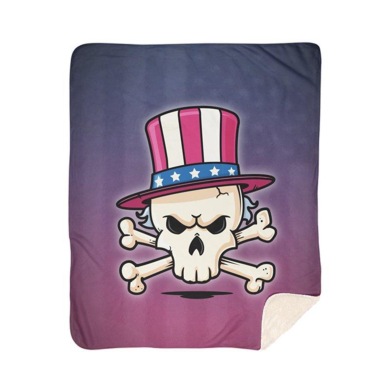Uncle Sam Skull Home Sherpa Blanket Blanket by zoljo's Artist Shop