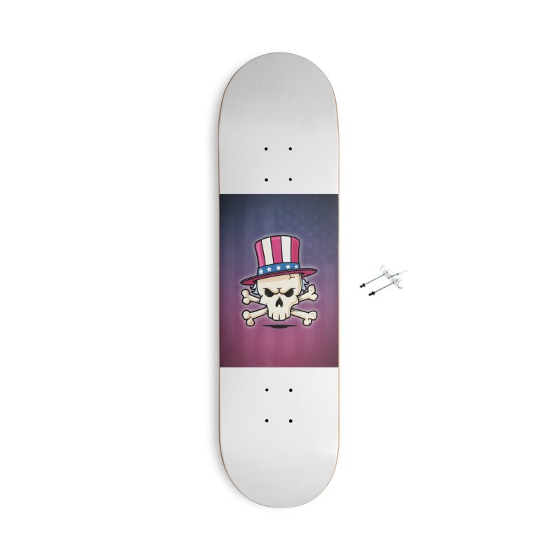 Uncle Sam Skull Accessories With Hanging Hardware Skateboard by zoljo's Artist Shop