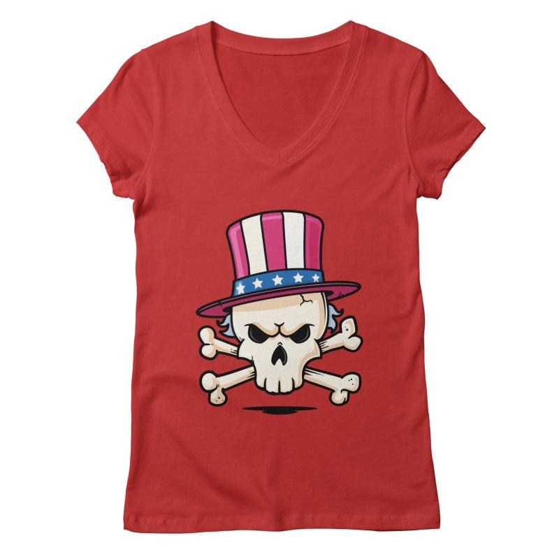 Uncle Sam Skull Women's Regular V-Neck by zoljo's Artist Shop
