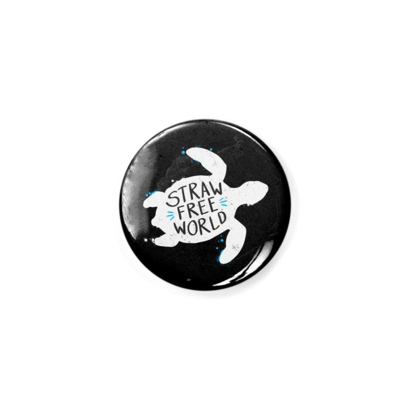 Straw Free World - Save The Sea Turtles Accessories Button by zoljo's Artist Shop