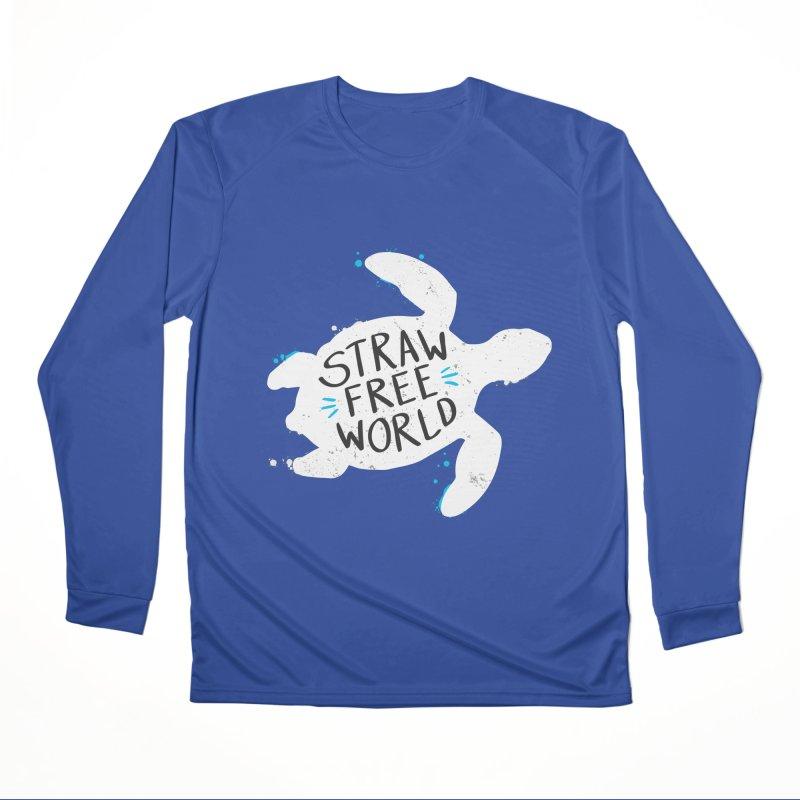 Straw Free World - Save The Sea Turtles Men's Performance Longsleeve T-Shirt by zoljo's Artist Shop