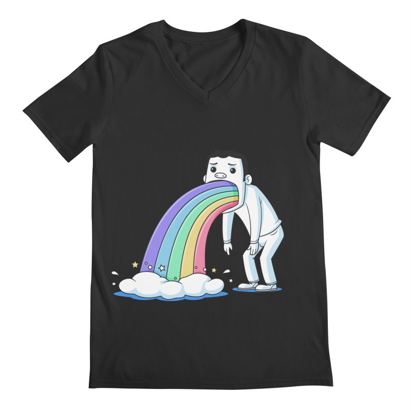 Puking Rainbow Men's V-Neck by zoljo's Artist Shop