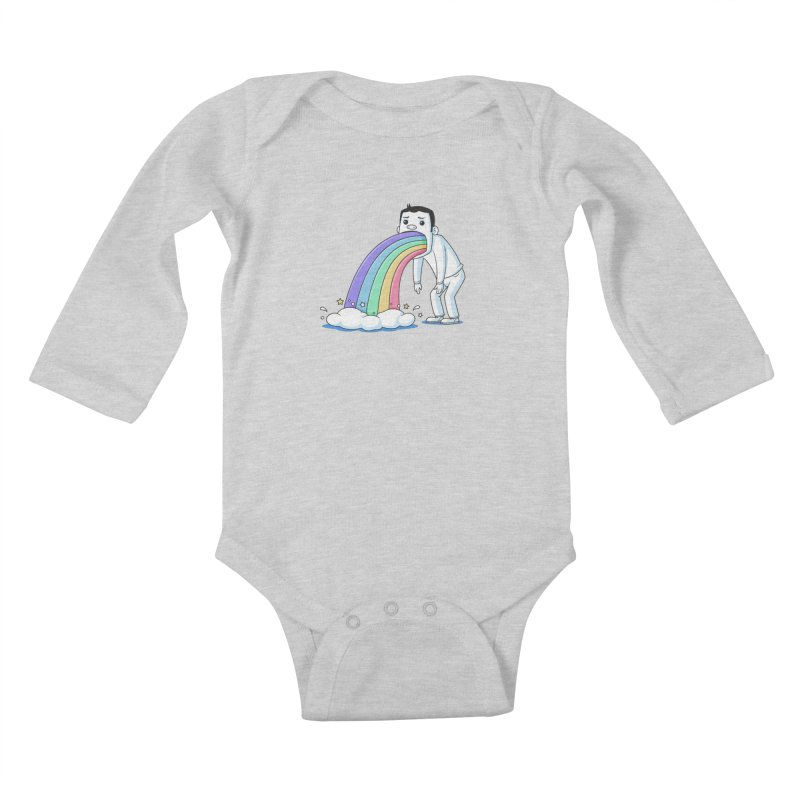 Puking Rainbow Kids Baby Longsleeve Bodysuit by zoljo's Artist Shop