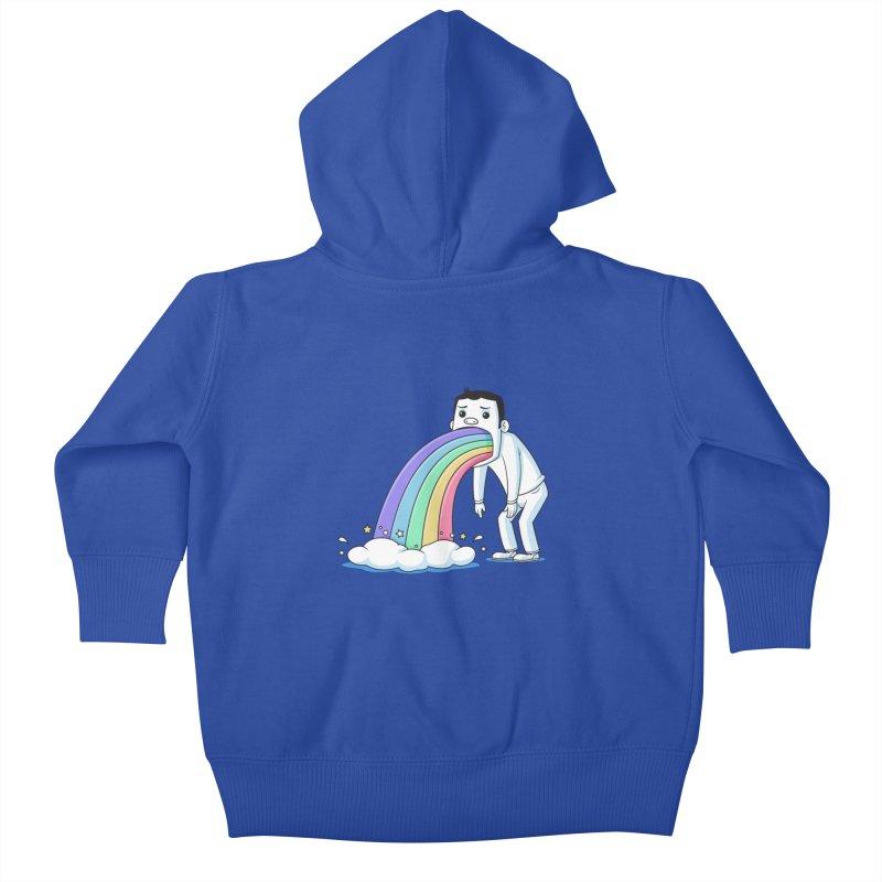 Puking Rainbow Kids Baby Zip-Up Hoody by zoljo's Artist Shop