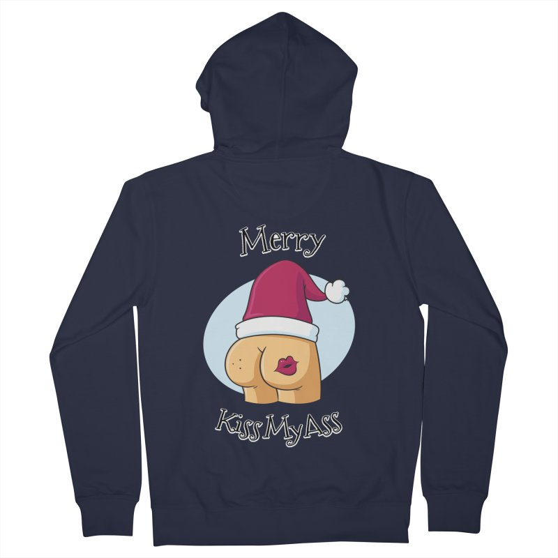 Merry KissMyAss Men's Zip-Up Hoody by zoljo's Artist Shop