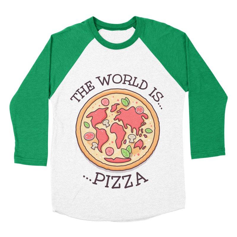 The World Is Pizza Men's Baseball Triblend T-Shirt by zoljo's Artist Shop