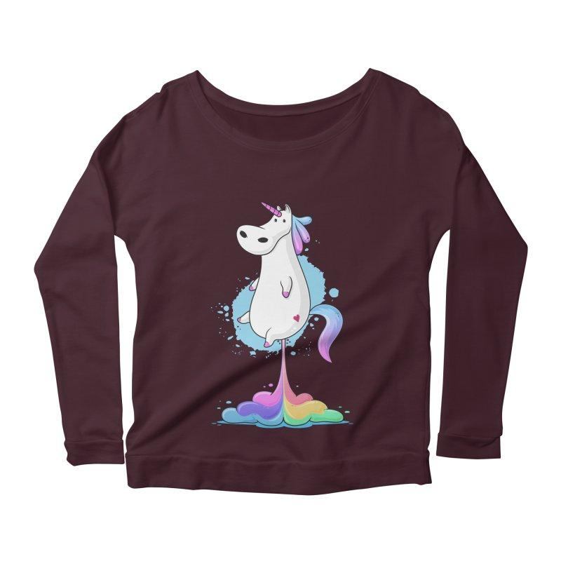 Farting Unicorn Women's Longsleeve Scoopneck  by zoljo's Artist Shop