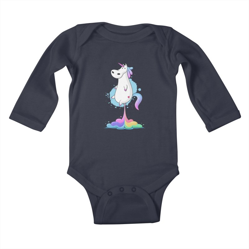 Farting Unicorn Kids Baby Longsleeve Bodysuit by zoljo's Artist Shop
