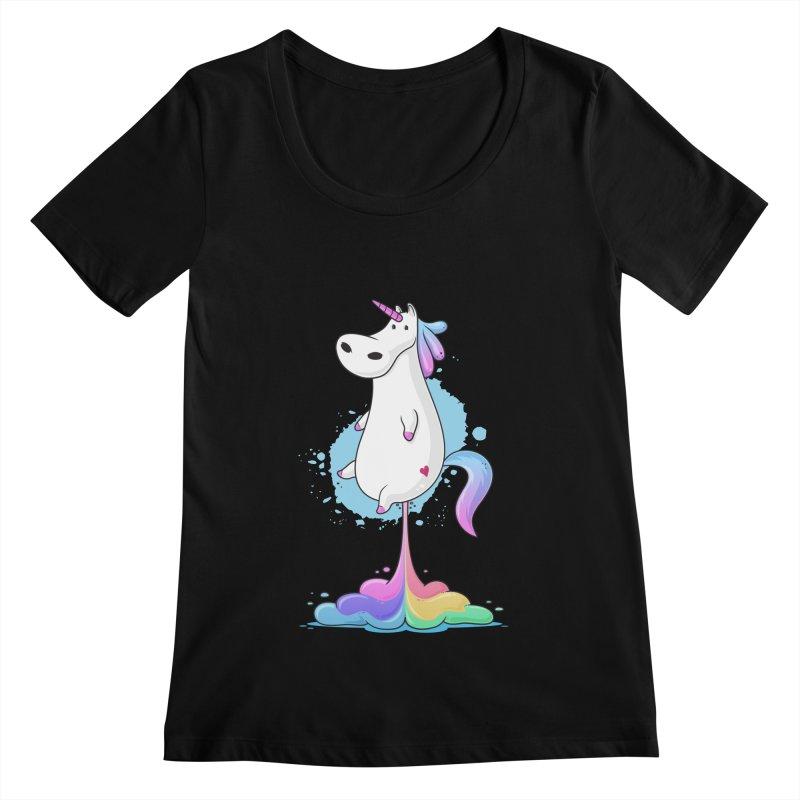 Farting Unicorn Women's Scoopneck by zoljo's Artist Shop