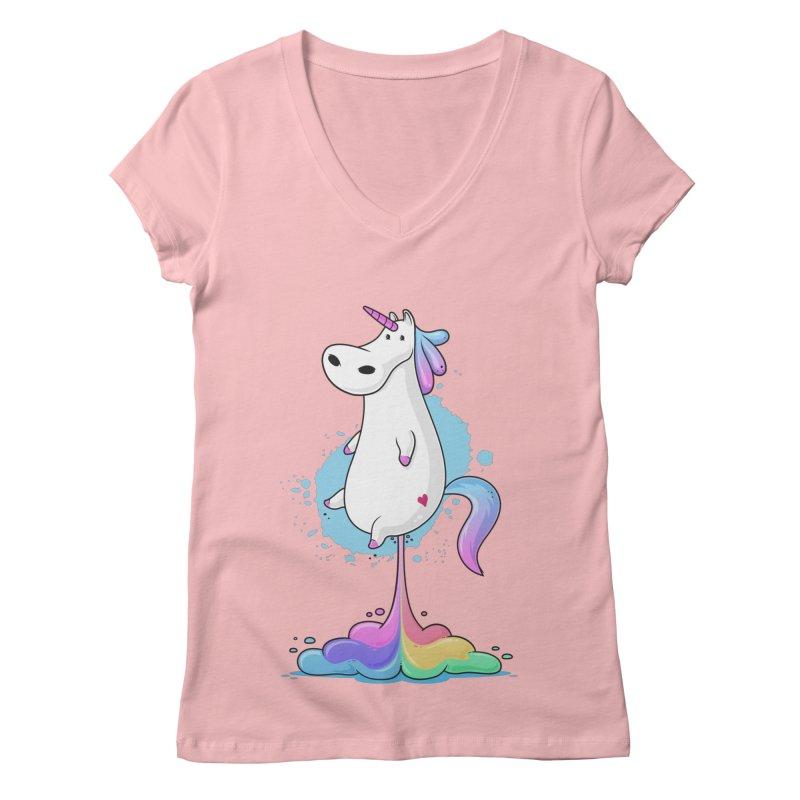 Farting Unicorn Women's V-Neck by zoljo's Artist Shop