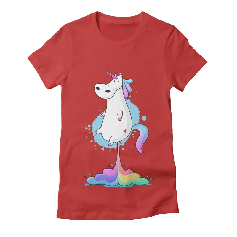 Farting Unicorn Women's Fitted T-Shirt by zoljo's Artist Shop