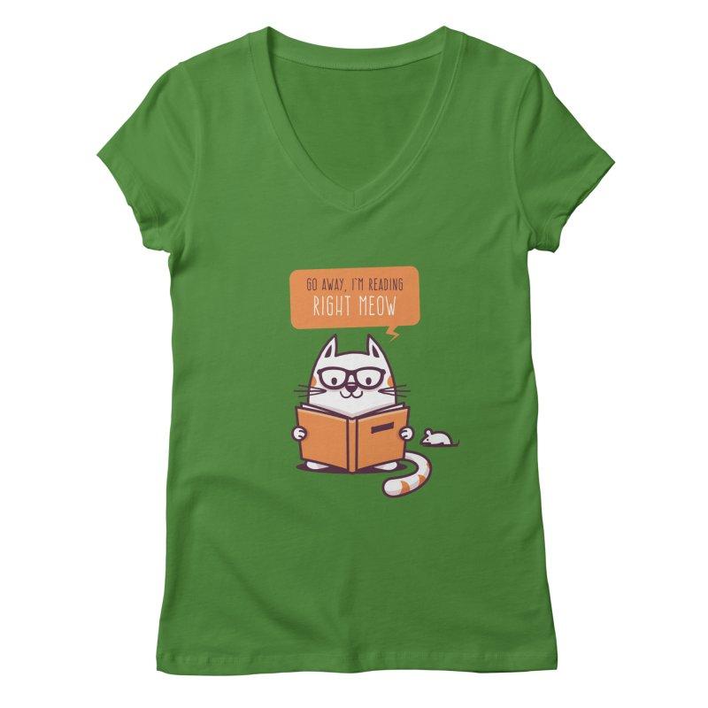 Go Away I'm Reading Right Meow Women's V-Neck by zoljo's Artist Shop