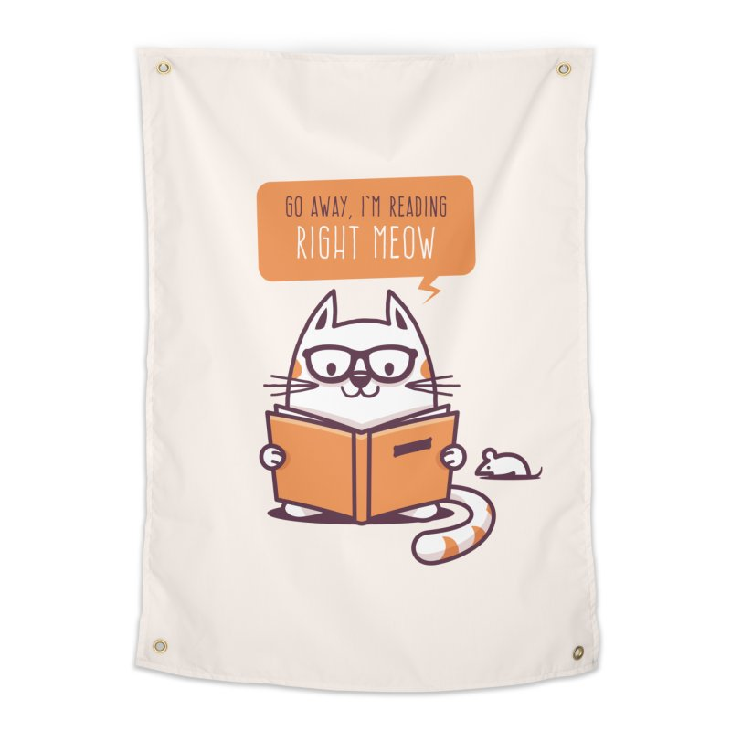 Go Away I'm Reading Right Meow Home Tapestry by zoljo's Artist Shop