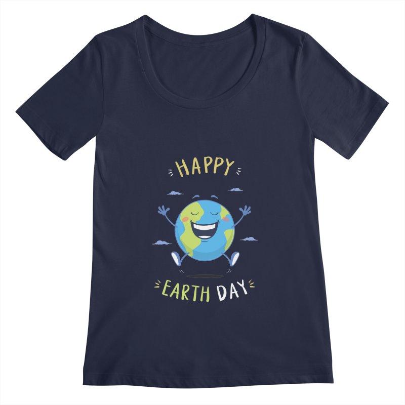 Happy Earth Day Women's Scoopneck by zoljo's Artist Shop