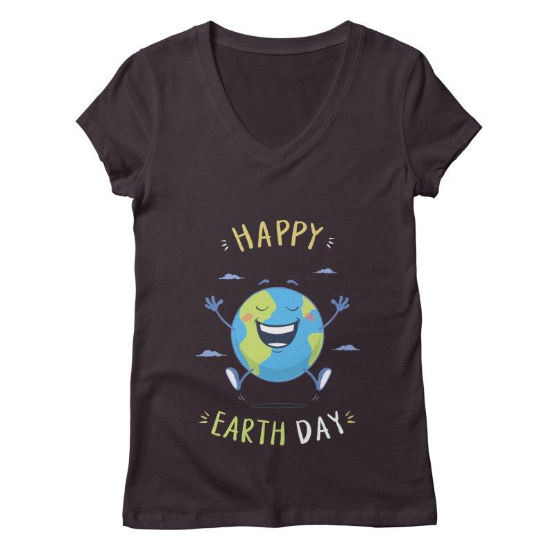 Happy Earth Day Women's V-Neck by zoljo's Artist Shop