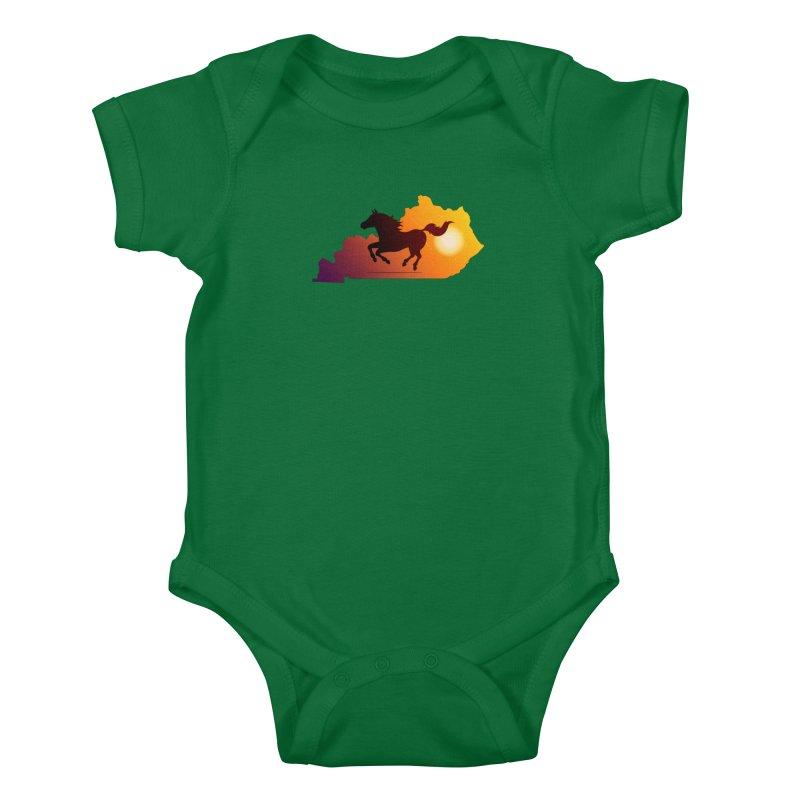 Horse Gallop in Sunset Kids Baby Bodysuit by zoljo's Artist Shop