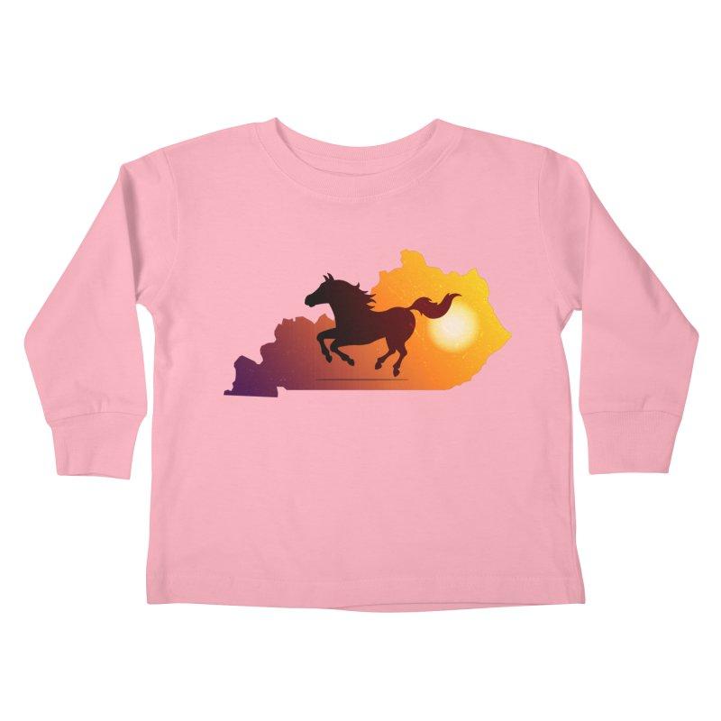 Horse Gallop in Sunset Kids Toddler Longsleeve T-Shirt by zoljo's Artist Shop