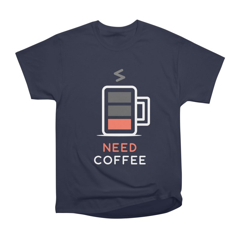 Battery Low, Need Coffee Men's Heavyweight T-Shirt by zoljo's Artist Shop