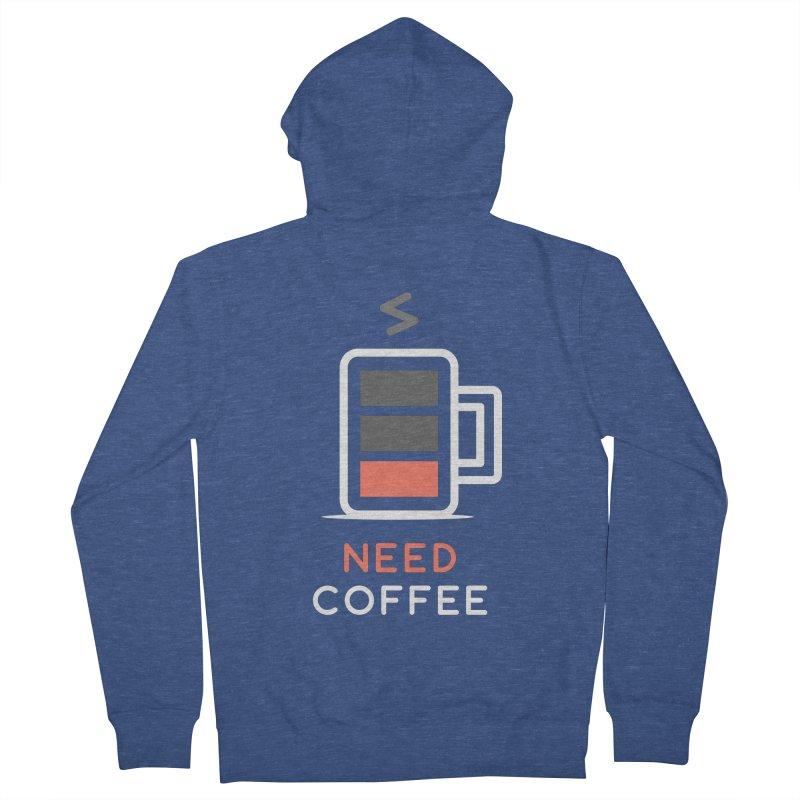 Battery Low, Need Coffee Men's Zip-Up Hoody by zoljo's Artist Shop