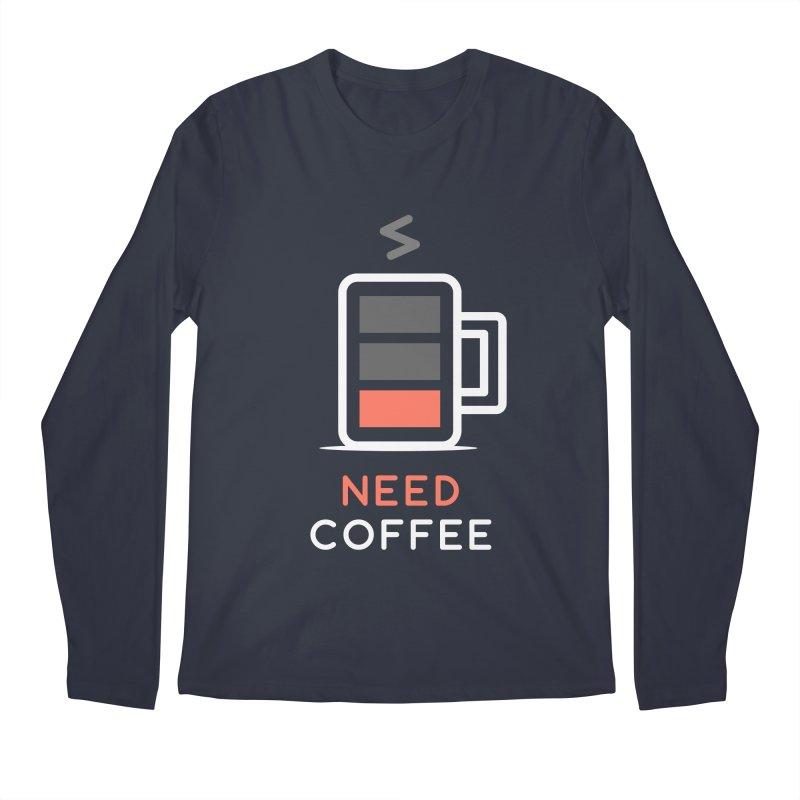 Battery Low, Need Coffee Men's Longsleeve T-Shirt by zoljo's Artist Shop