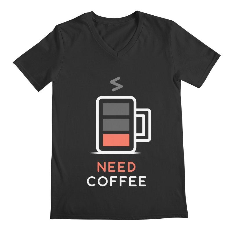 Battery Low, Need Coffee Men's V-Neck by zoljo's Artist Shop