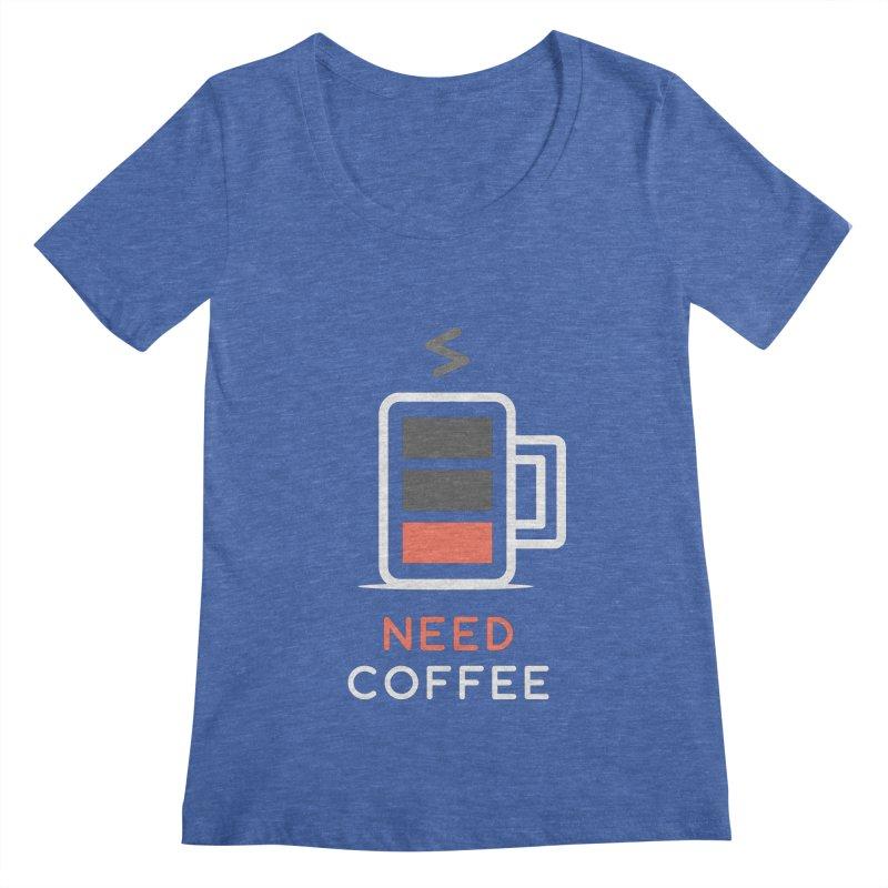 Battery Low, Need Coffee Women's Scoopneck by zoljo's Artist Shop