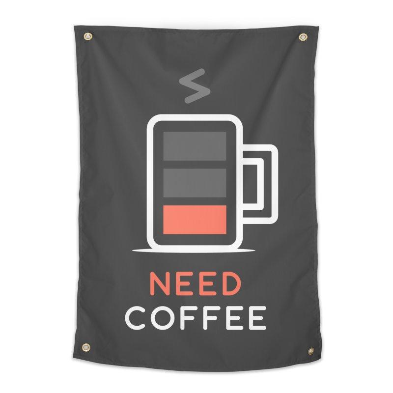 Battery Low, Need Coffee Home Tapestry by zoljo's Artist Shop