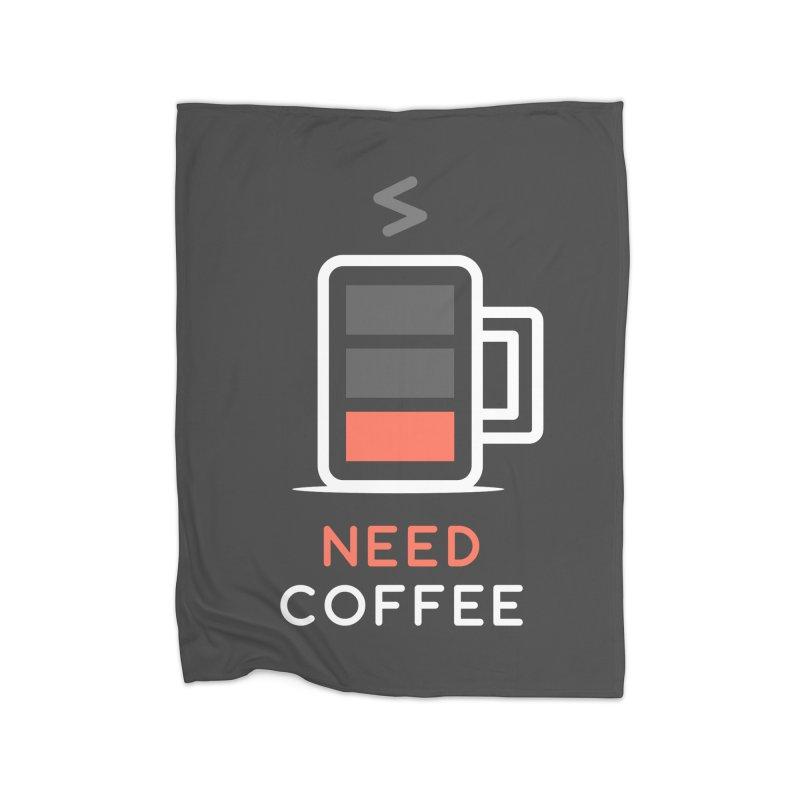 Battery Low, Need Coffee Home Blanket by zoljo's Artist Shop