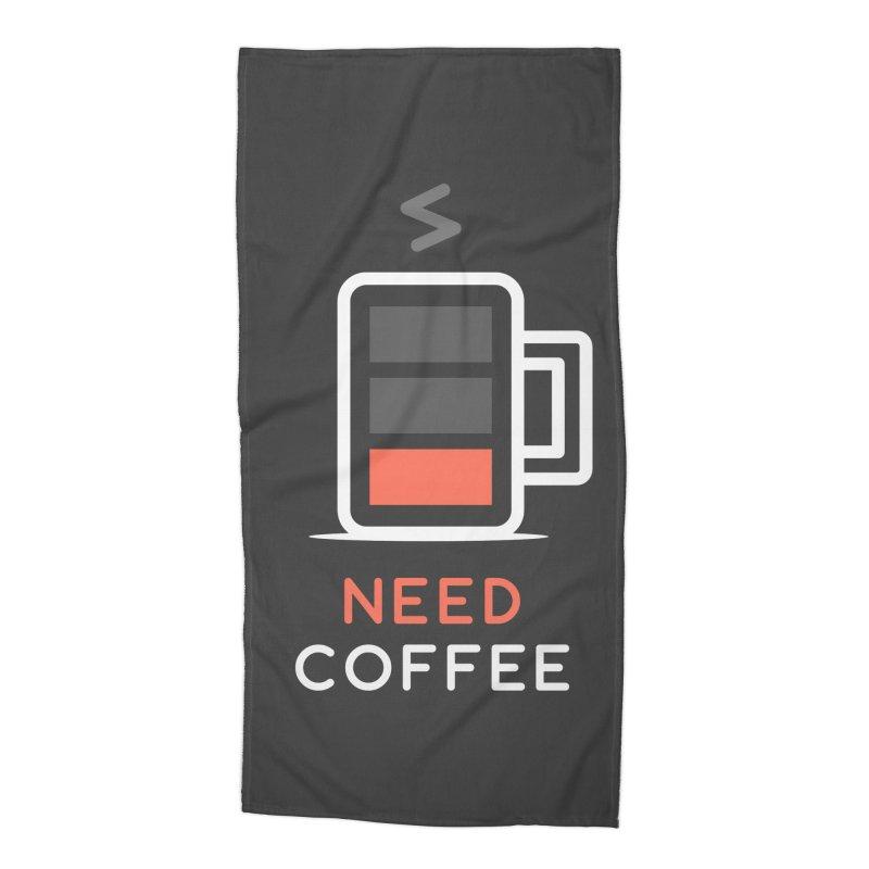 Battery Low, Need Coffee Accessories Beach Towel by zoljo's Artist Shop