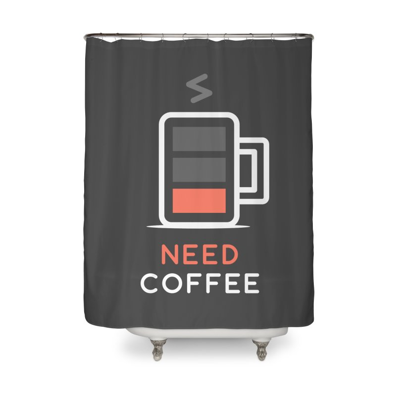 Battery Low, Need Coffee Home Shower Curtain by zoljo's Artist Shop