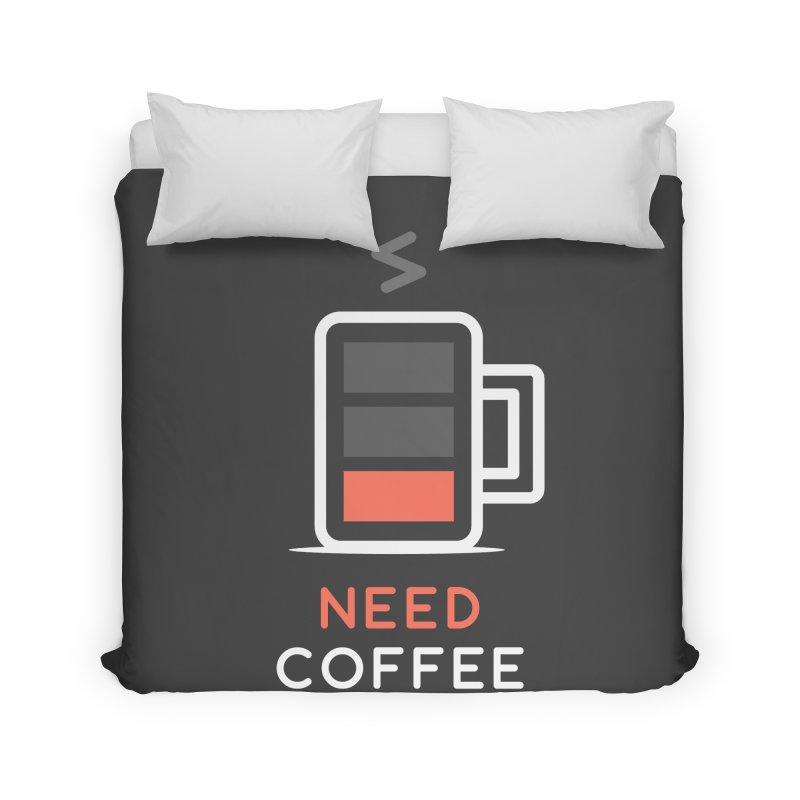 Battery Low, Need Coffee Home Duvet by zoljo's Artist Shop