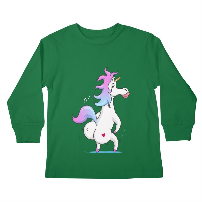 Twerking Unicorn Kids Longsleeve T-Shirt by zoljo's Artist Shop