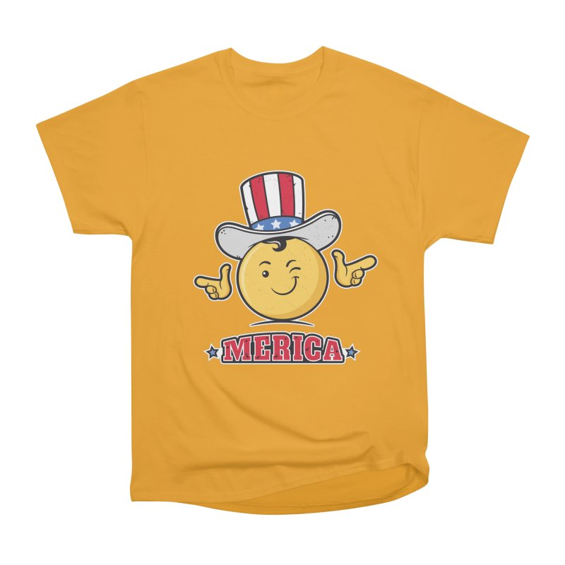 Uncle Sam Smiley Emoticon Merica Men's Heavyweight T-Shirt by zoljo's Artist Shop