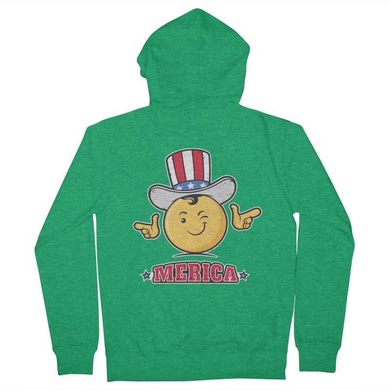 Uncle Sam Smiley Emoticon Merica Men's Zip-Up Hoody by zoljo's Artist Shop