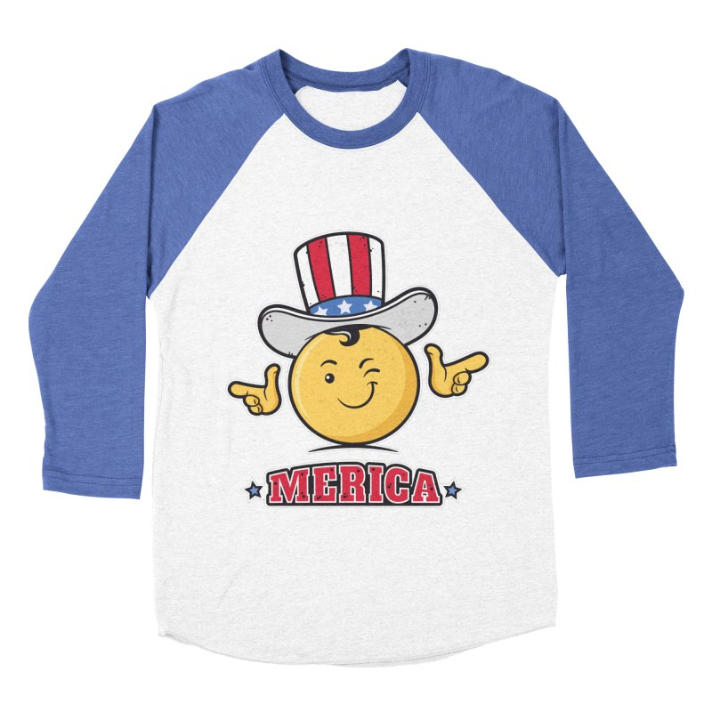 Uncle Sam Smiley Emoticon Merica Women's Baseball Triblend T-Shirt by zoljo's Artist Shop