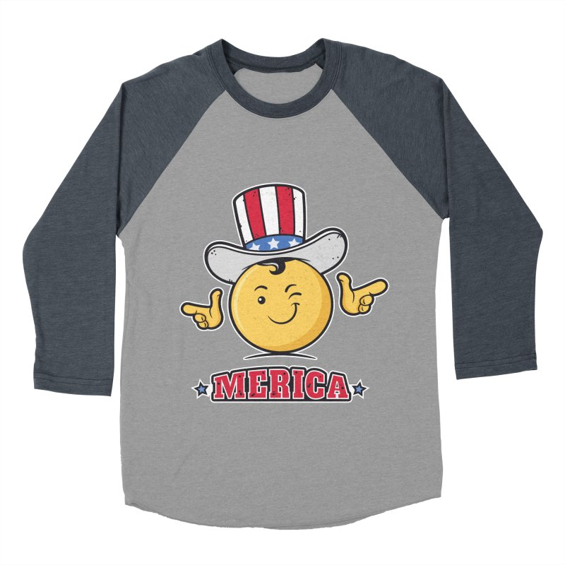 Uncle Sam Smiley Emoticon Merica Men's Baseball Triblend T-Shirt by zoljo's Artist Shop