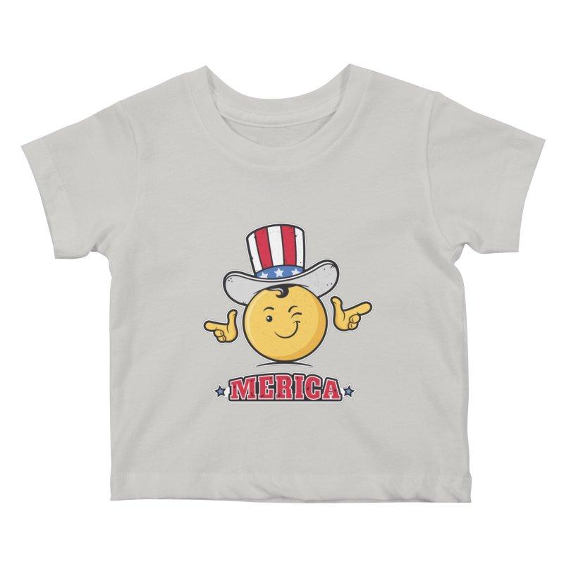 Uncle Sam Smiley Emoticon Merica Kids Baby T-Shirt by zoljo's Artist Shop