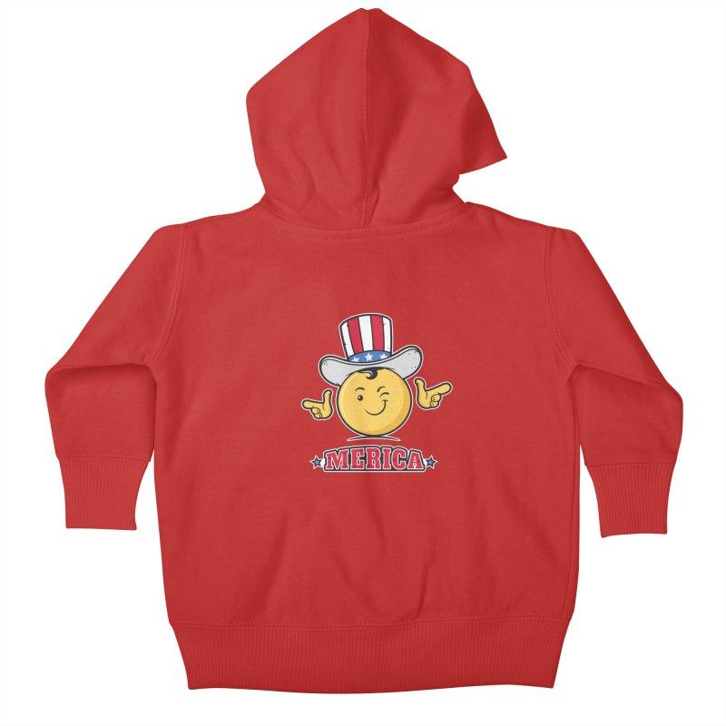 Uncle Sam Smiley Emoticon Merica Kids Baby Zip-Up Hoody by zoljo's Artist Shop