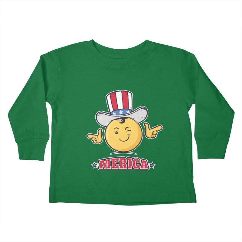 Uncle Sam Smiley Emoticon Merica Kids Toddler Longsleeve T-Shirt by zoljo's Artist Shop