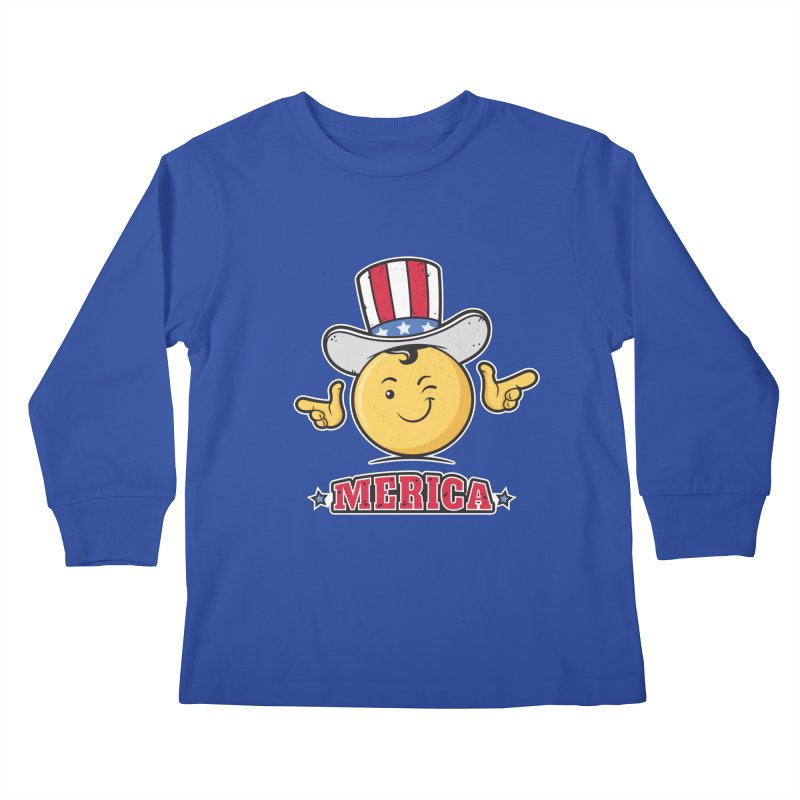 Uncle Sam Smiley Emoticon Merica Kids Longsleeve T-Shirt by zoljo's Artist Shop