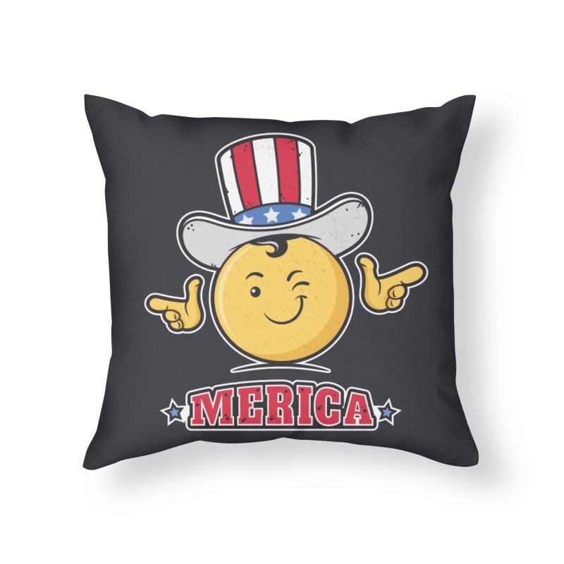 Uncle Sam Smiley Emoticon Merica Home Throw Pillow by zoljo's Artist Shop