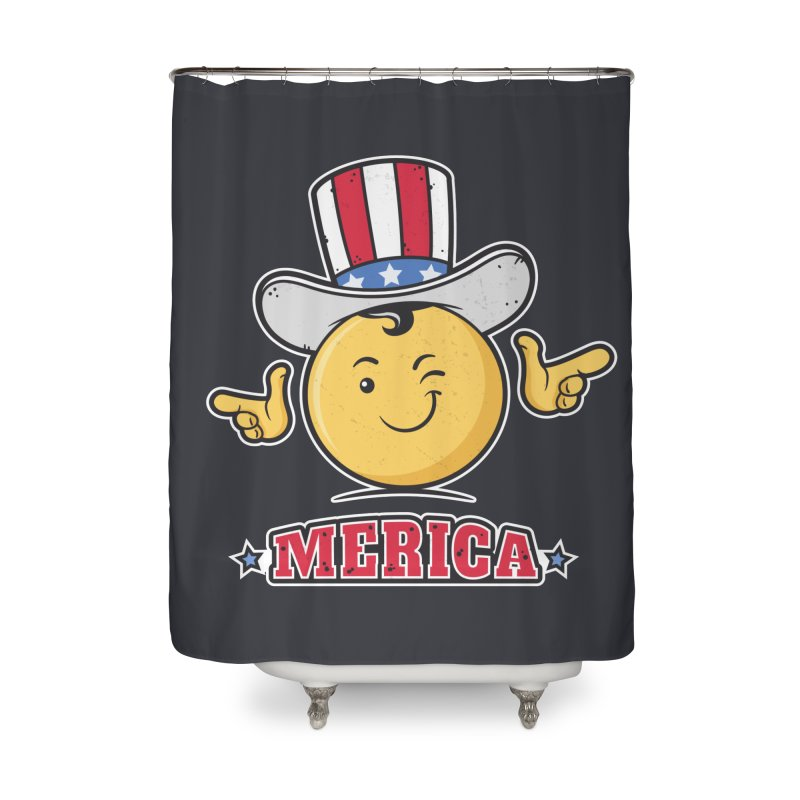 Uncle Sam Smiley Emoticon Merica Home Shower Curtain by zoljo's Artist Shop