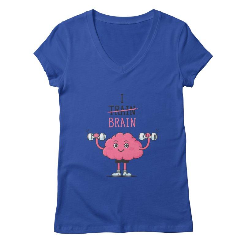 I Train Brain Women's V-Neck by zoljo's Artist Shop